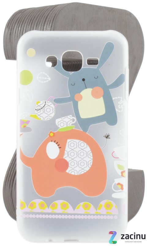 Чохол-накладка TPU для Samsung J700H J7 Fashion ZOO ser. Заєць Прозорий/матовий