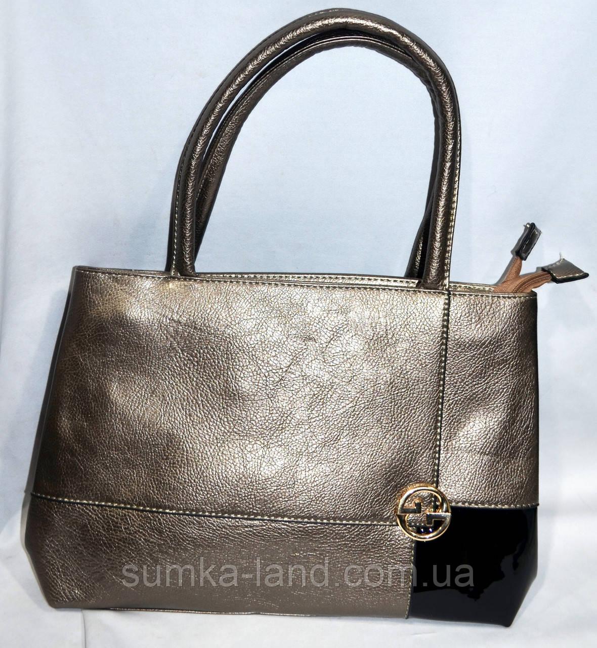 256680af2 Женская бронзовая сумка из искусственной кожи с лаковой вставкой (2 отдела)  33*24