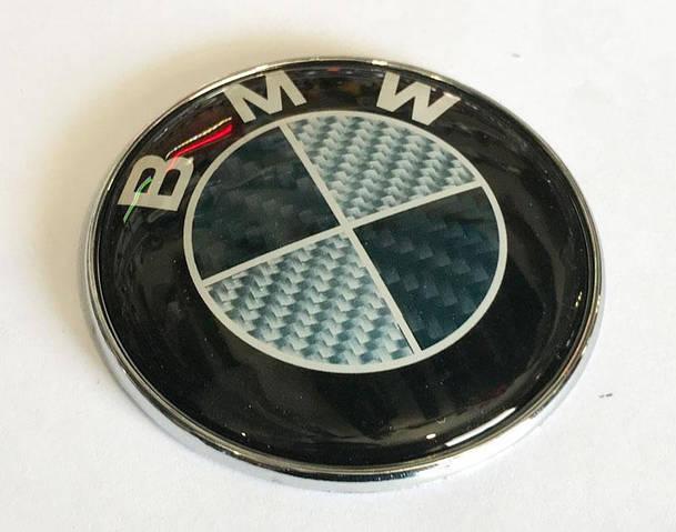 Эмблема BMW 82.5мм (карбон клей 3 шайбы) новые передние (51767288752c)