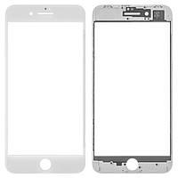 Стекло для переклейки Apple iPhone 8 с OCA пленкой и рамкой, белое (НЕ ЗАЩИТНОЕ)