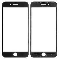 Стекло для переклейки Apple iPhone 8 Plus с OCA пленкой и рамкой, черное (НЕ ЗАЩИТНОЕ)