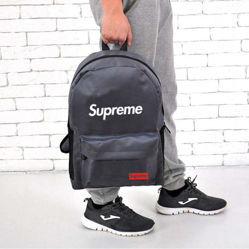 Рюкзак в стиле SUPREME серый