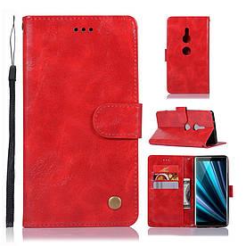 Чехол книжка для Sony Xperia XZ3 боковой с отсеком для визиток, Premium Vintage, красный