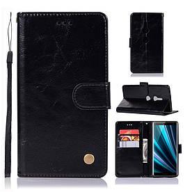 Чехол книжка для Sony Xperia XZ3 боковой с отсеком для визиток, Premium Vintage, черный