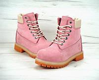 """Ботинки женские зимние Timberland искусственный мех """"Розовые"""" р. 37-40, фото 1"""