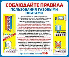Стенд. Правила пользования газовыми плитами. (Рус.) 0,6х0,5. Пластик