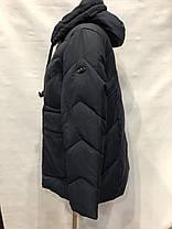 """Жіночий пуховик """"Button"""", модель 72-903 синій, фото 2"""
