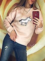 Свитшот женский на флисе Единорог (42/46 универсал) (цвет нежно-розовый) СП, фото 1