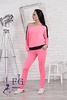 """Спортивный костюм женский """"Gold Star"""". Распродажа розовый(неон)+черный, 46-48"""