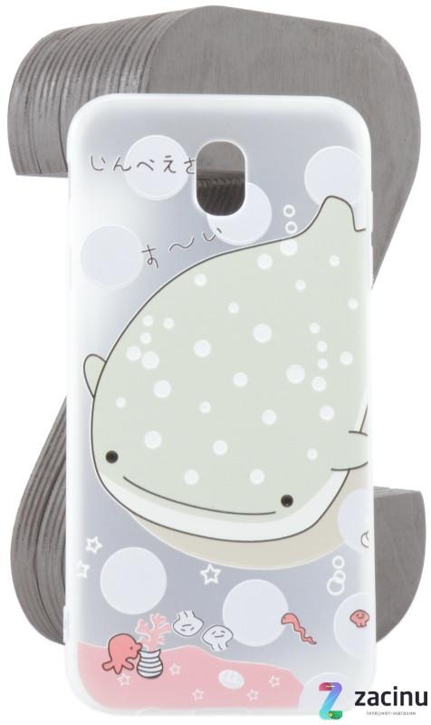 Чехол накладка TPU для Samsung J730F J7 (2017) Fashion ZOO ser. Кит Прозрачный / матовый
