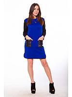Женское платье с карманами и кожаными вставками