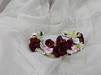 Венок цветочный бордовый с розовым