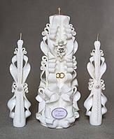 Свадебные свечи с ангелочком и именами для церемонии зажигания очага