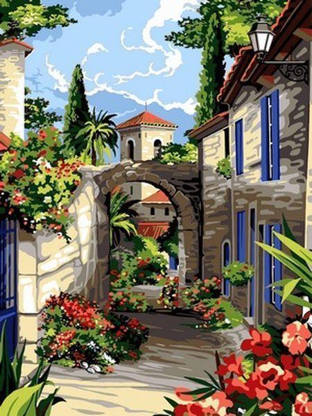 Рисование по номерам 30×40 см. Прекрасная улочка прованса
