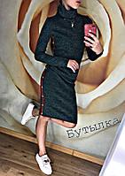 Платье женское ангора Гучи (42/44, 44/46) (цвет бутылка) СП, фото 1