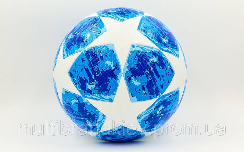 Мяч футбольный №5 PVC ламин. Клееный CHAMPIONS LEAGUE 2018-2019 FB-6999 (№5, белый-синий)