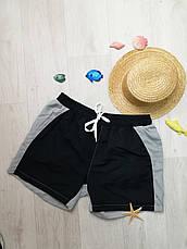 Шорты мужские пляжные чёрно-серые - 158-02, фото 2