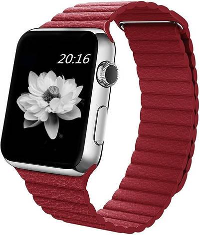 Ремінець для Apple iWatch 38mm Leather Loop Band ser. Red(993589), фото 2