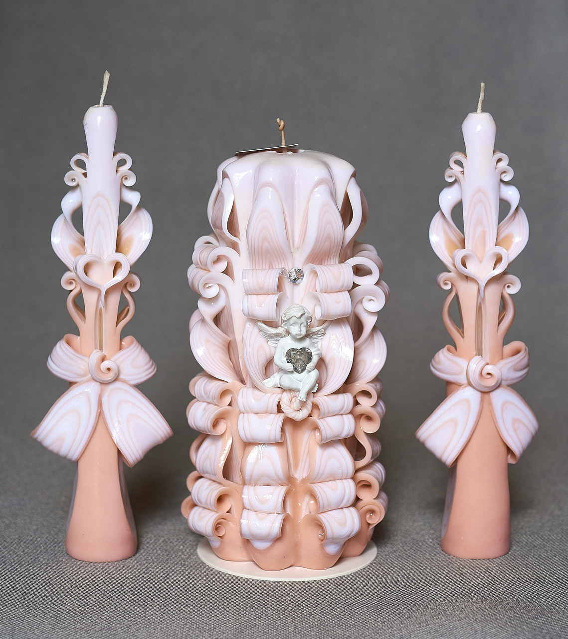 Нежные свадебные свечи для церемонии зажигания очага