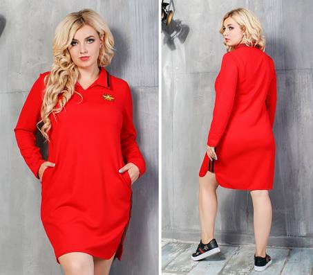 Модное трикотажное женское платье Красное. (5 цветов) Р-ры: 48-54. (138)943., фото 2