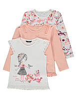 """Детские регланы + футболка George """"Сакура"""" для девочки, набор 3 шт"""