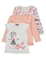 """Детские регланы с длинным рукавом + футболка для девочки, набор 3 шт George """"Сакура"""", рост 86 92"""