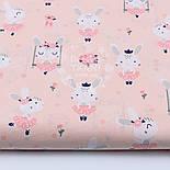 "Лоскут ткани ""Кролики на качелях"" на светло-розовом фоне, №1520а, размер 25*80 см, фото 2"