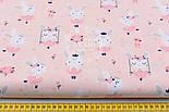 "Лоскут ткани ""Кролики на качелях"" на светло-розовом фоне, №1520а, размер 25*80 см, фото 3"