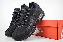 Кроссовки мужские на меху Nike Air Max 95 низкие черные/серые петли топ реплика, фото 2