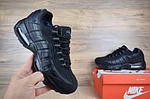 Кроссовки мужские на меху Nike Air Max 95 низкие черные/серые петли топ реплика, фото 3