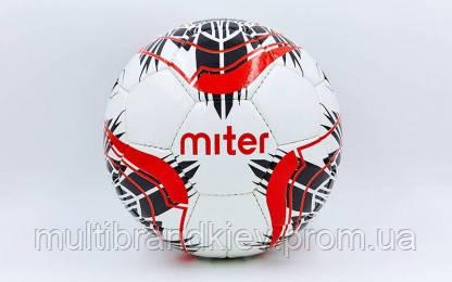 Мяч футбольный №5 PU ламин. MITER FB-6762-2 белый (№5, 5 сл., сшит вручную)