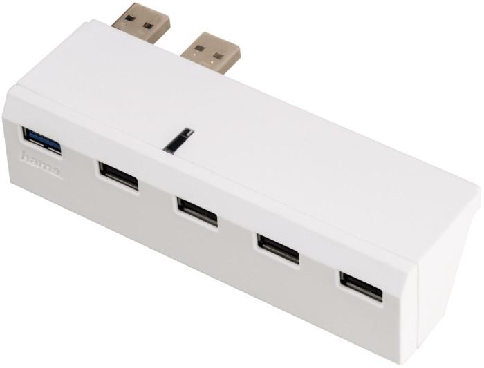 USB Хаб Hama 00115418 для Sony Playstation 4 USB 2.0х4 USB 3.0x1 Білий