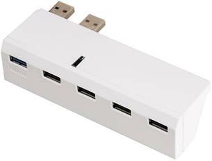 USB Хаб Hama 00115418 для Sony Playstation 4 USB 2.0х4 USB 3.0x1 Білий, фото 2