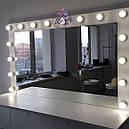 Широкая навесная полка в гримерную, столик для макияжа с подсветкой по бокам, фото 2