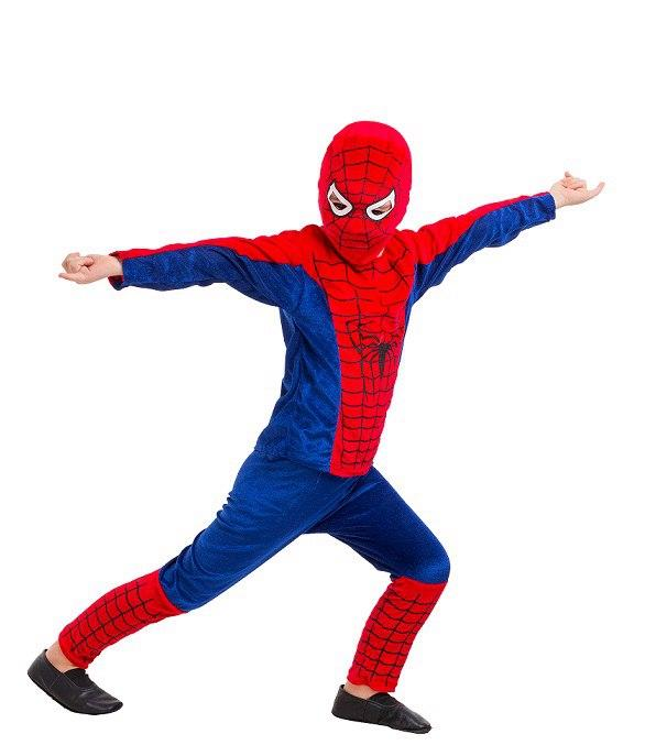 Детский маскарадный костюм  Человека - паука (кофта, штаны, шапка - маска) велюр