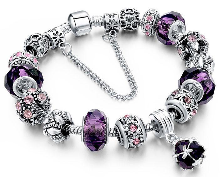 Женский браслет Primo Sharm Christal в стиле PANDORA - Purple