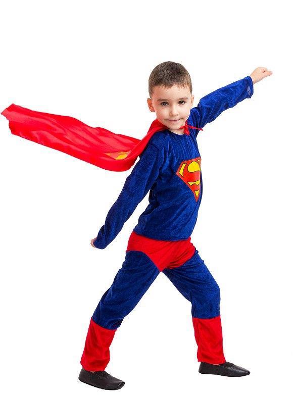 Детский маскарадный костюм  Супермена (кофта, штаны, плащ) велюр