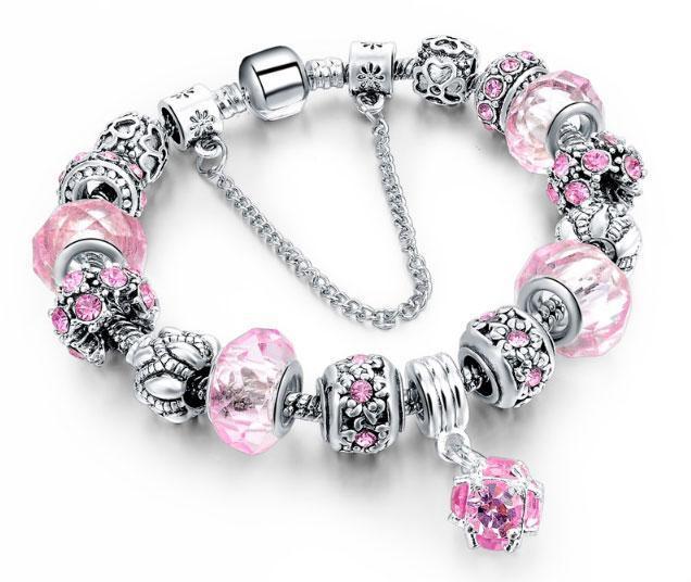 Женский браслет Primo Sharm Christal в стиле PANDORA - Pink