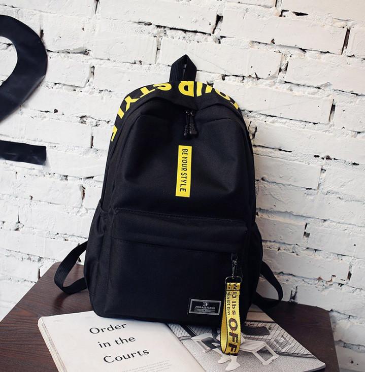 6add43177b8f Рюкзак Городской Молодежный Be Your Черный с Желтыми Лентами — в ...