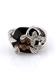 Кольцо серебряное с раухтопазом R-354 (р.15.5)