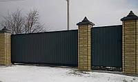 Выездные ворота, закрытые профнастилом 1270