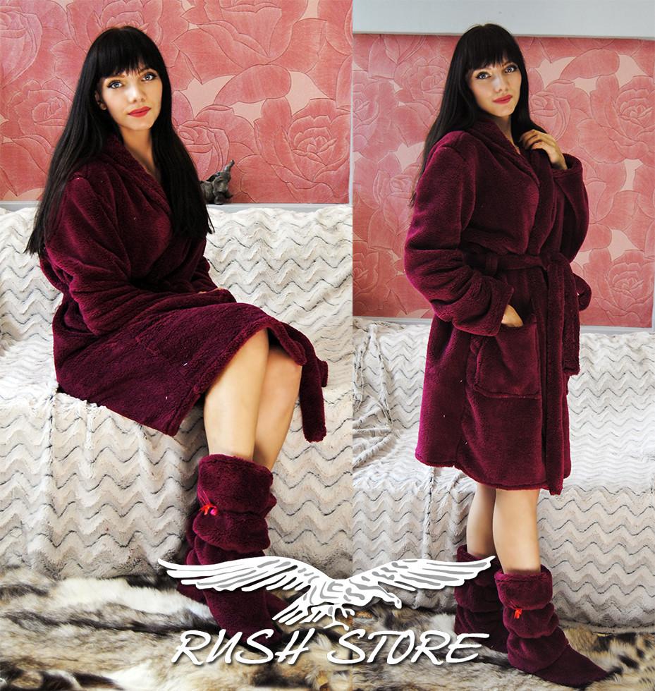 Женский махровый халат бордовый