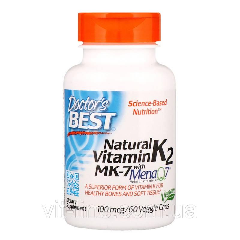 Doctor's Best, MK-7 с натуральным витамином К2 MenaQ7, 100 мкг, 60 овощных капсул