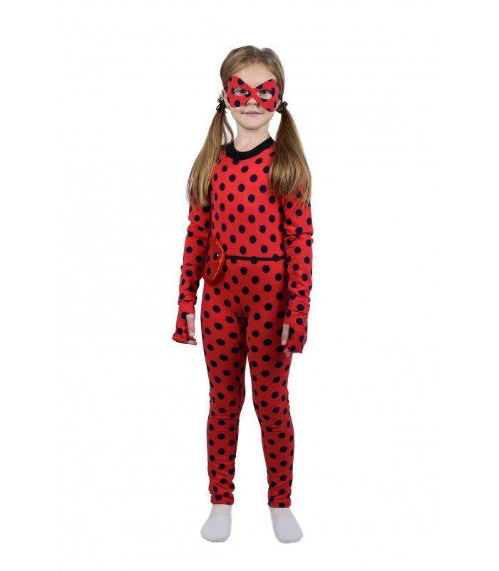 Детский маскарадный костюм Леди Баг (комбинезон, маска, сумочка и перчатки-обманки) французский трикотаж