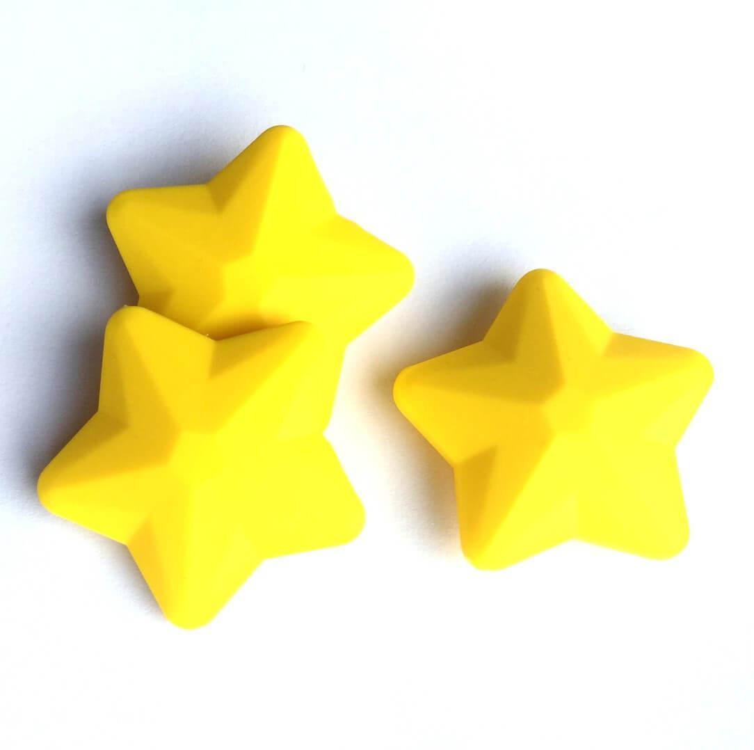 Звезда большая (желтая) 45мм, силиконовые бусины