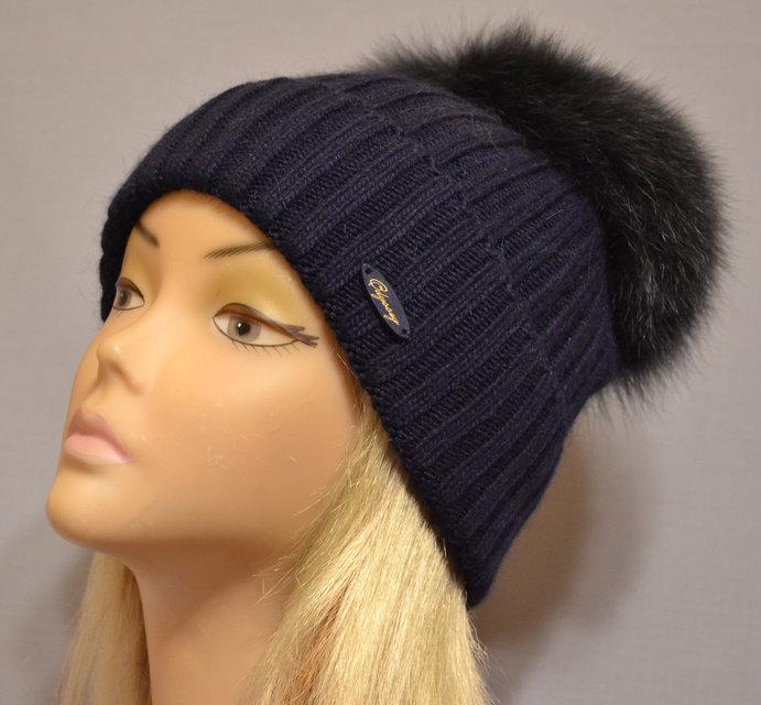 женская вязаная шапка эскимо цвет индиго продажа цена в одессе