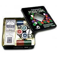 Покерный набор (2 колоды карт,100 фишек)(19,5х20,5х5 см)(вес фишки 4 гр. d-39 мм) ( 23725)