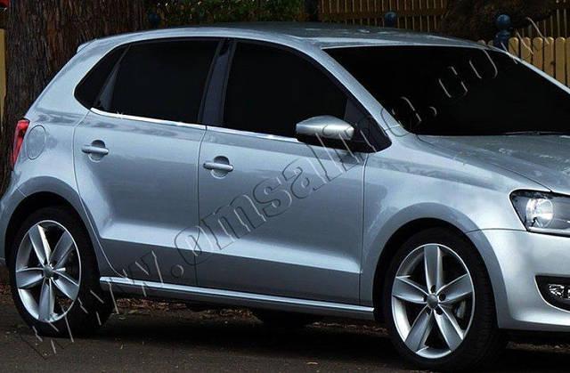 Нижние молдинги стекол Volkswagen Polo HB (2009-) (нерж.) 6 шт