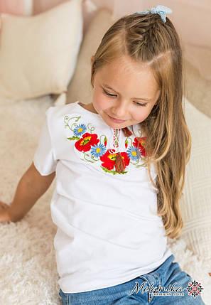 Стильная футболка для девочки белого цвета «Маки-ромашки», фото 2