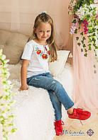 Стильна футболка для дівчинки білого кольору «Маки-ромашки», фото 1